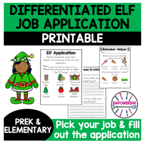 Occupational Therapy Christmas Activity: Elf job application
