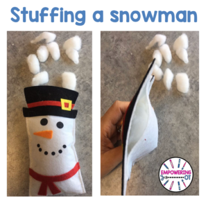 Occupational Therapy Christmas Activity: Stuff a snowman